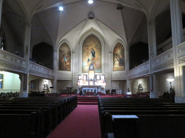 The hushed interior of Old St. Mary's in Chinatown. San Francisco, United States, North America.