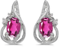 14k White Gold Oval Pink Topaz And Diamond Teardrop Earrings