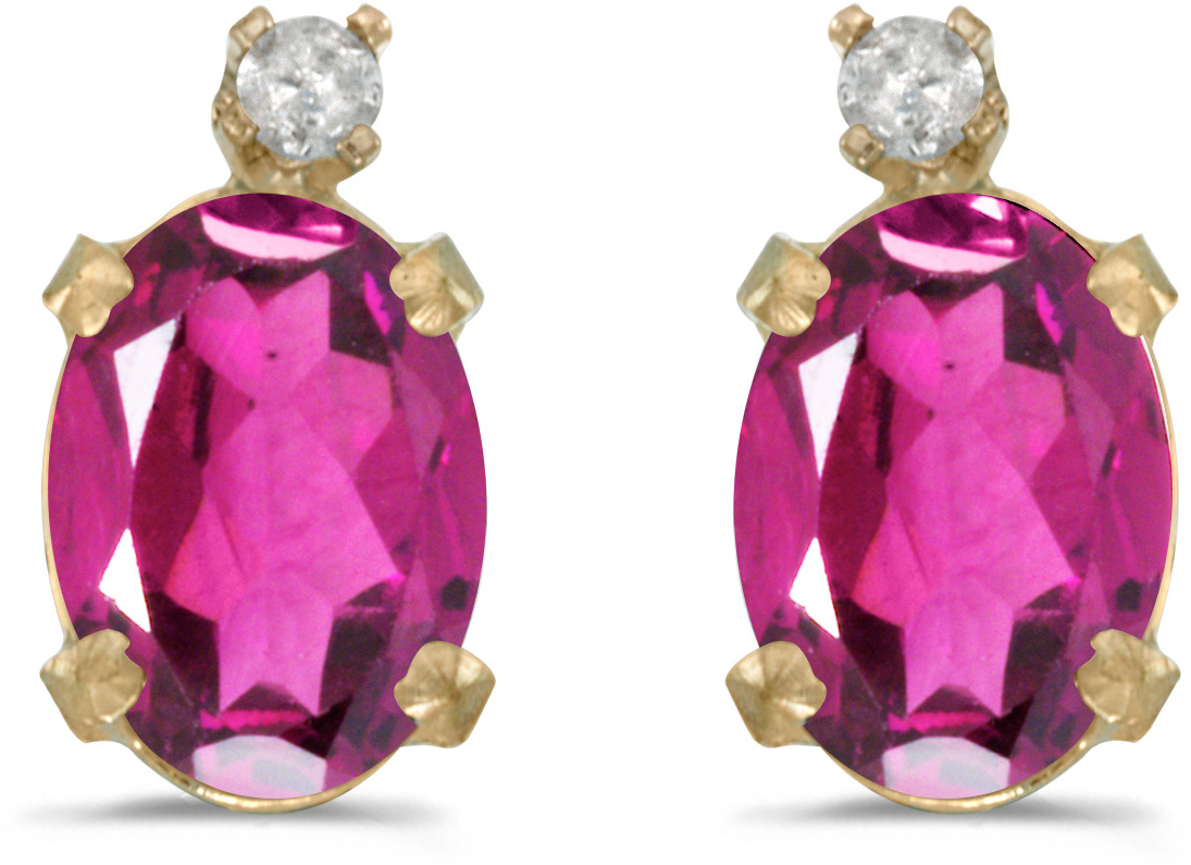 14k Yellow Gold Oval Pink Topaz And Diamond Earrings (CM