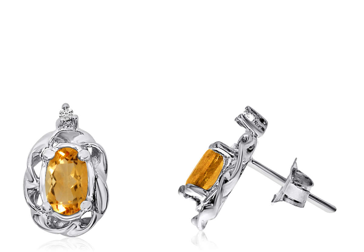 14K White Gold Oval Citrine Scroll Diamond Earrings