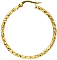 14K Yellow Gold Polished Textured Round Tube Large Hoop ...