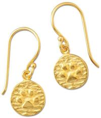 14K Gold Plated Paw Print Drop Earrings 925 Sterling Silver