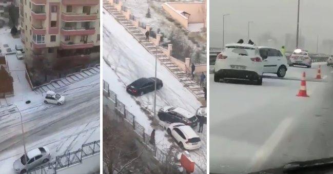 Ankara'da Etkili Olan Kar Yağışının Ardından Yollar Buz Pistine Döndü, Araçlar Kaza Yaptı