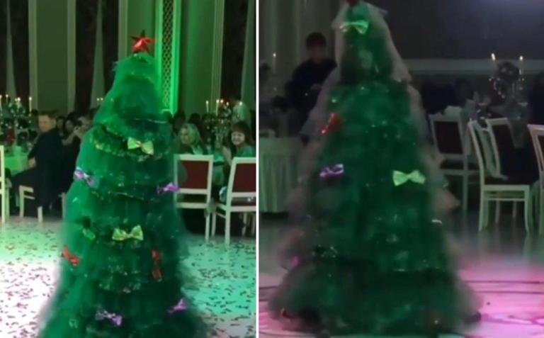 Çam Ağacı Kostümü ile Düğüne Gelen İnsanlara Farklı Bir Deneyim Yaşatan Gelin