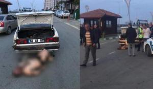 Rize'de dehşet görüntü! Dövdüler, aracın bagajından çıkarttılar, bırakırken yakalandılar