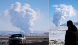 Sivas'ta zeminden yükselen duman yanardağı andırıyor