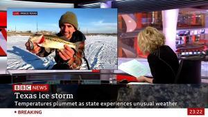 BBC'nin Teksas'ta Kutup Soğukları Haberi İçin Canlı Yayına Bağlandığı Kişi Yayında Balık Tuttu
