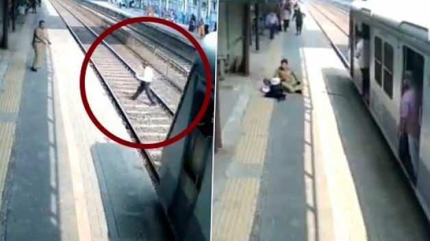 Raylarda Takılan Kişiyi Trenin Altında Kalmaktan Son Anda Kurtardıktan Sonra Tokat Atan Güvenlik Görevlisi