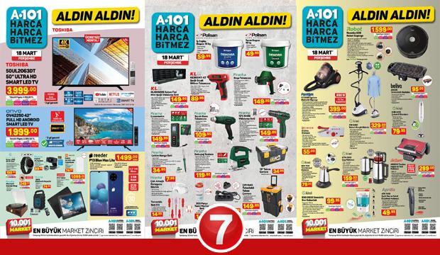 A101 18 Mart aktüel kataloğu! Hırdavat, mobilya, züccaciye, derin dondurucu, elektronik ürünler