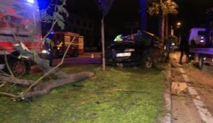 Adana'da otomobil refüjdeki ağaçlara çarptı: 3 yaralı