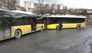 İETT otobüsleri kafa kafaya çarpıştı