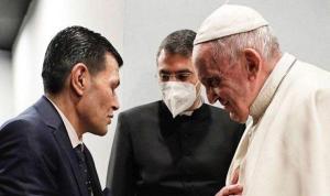 Papa ile görüşen Aylan bebeğin babası: Tabloyu insanların o olayı hatırlaması için verdim