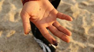 Sahili zift sardı: Vatandaşlar ayaklarına ve ellerine yapışan siyah maddeyi görünce şaşkına döndü