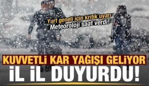 Son dakika: Meteoroloji il il uyardı! Kuvvetli kar yağışı geliyor…
