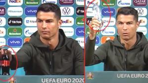 """Ronaldo'nun basın toplantısındaki hareketi dünyaca ünlü firmaya ilham verdi! Su şişelerine """"Cristiano"""" adını verdiler"""