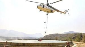 3 dakikada 8 helikopter! Yangın bölgesinden sıcak görüntüler