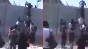 Sınırda endişe yaratan görüntü! Afgan mülteciler güvenlik duvarını merdiven dayayarak aştı