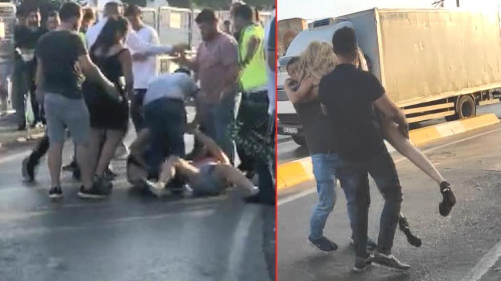 Taksim'de kadınların laf atma kavgası! Birbirlerinin saçlarından tutarak yerlerde sürüklediler, o anlar kamerada