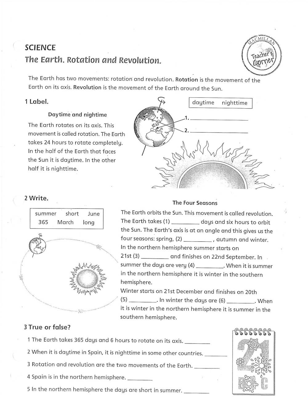 medium resolution of Earth Rotation Worksheet   Printable Worksheets and Activities for  Teachers