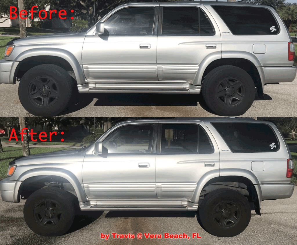 hight resolution of lifted 4runner 3 inch bilstein kit before and after 1996 2002