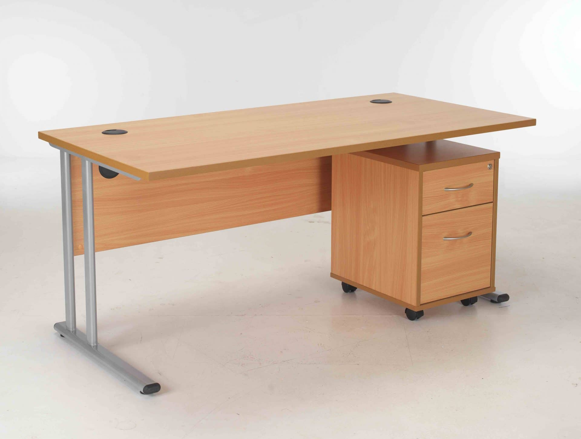 Bimi White Rectangular Desk With 2 Draw Mobile Pedestal