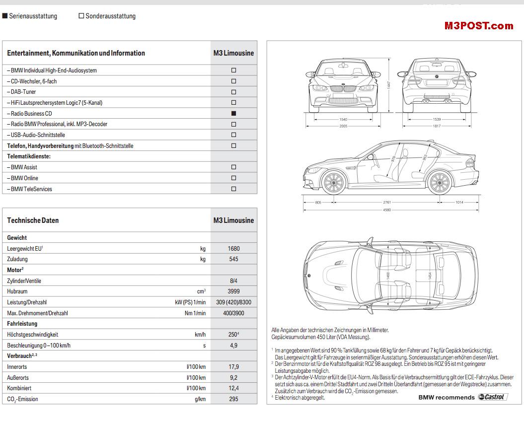 Official E90 M3 German Catalog Brochure