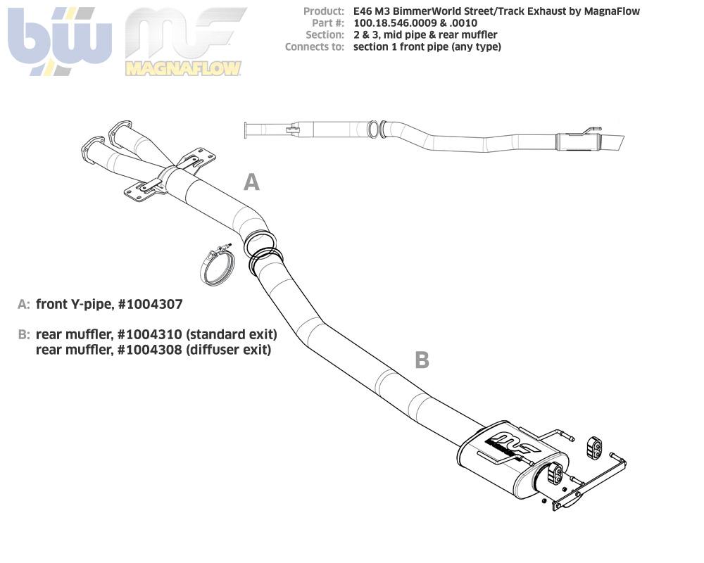 bimmerworld e46 m3 street track exhaust kit standard exit