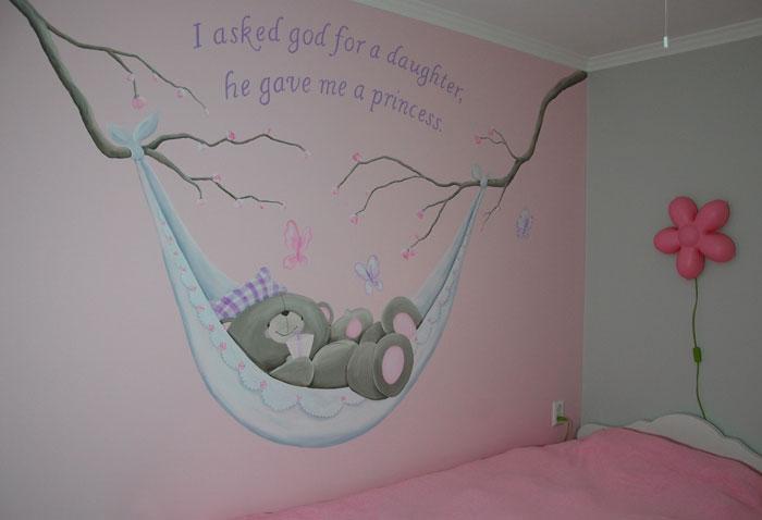 Forever Friends beertjes muurschildering in babykamer