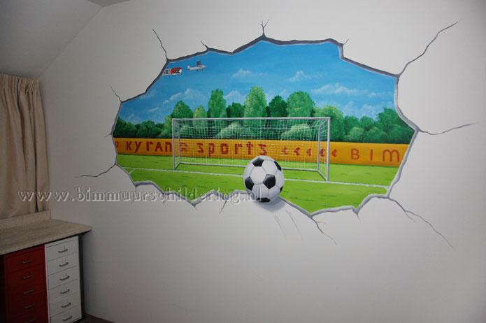 Voetbal kinderkamer muurschildering