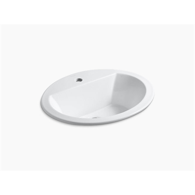 oval drop in bathroom sink with single