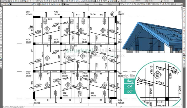 Download Sample Cad Drawing Of Inclined Pitched Roof