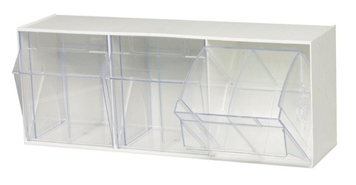 Clear Tip Out Tilt 3 Cup Compartment Bin Organizer
