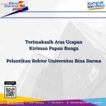 Terimakasih Atas Kiriman Ucapan Selamat atas Pelantikan Rektor Universitas Bina Darma