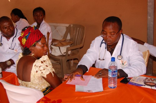 Patient recieves medical attention during medical outreach