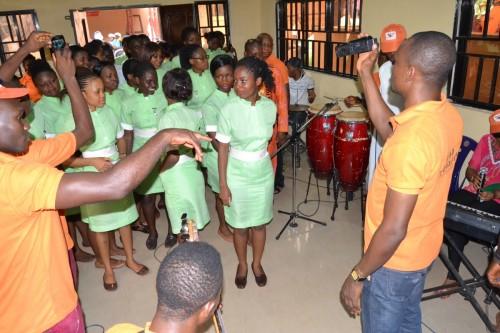 Student nurses enjoy the captivating melody of  Bina musical band