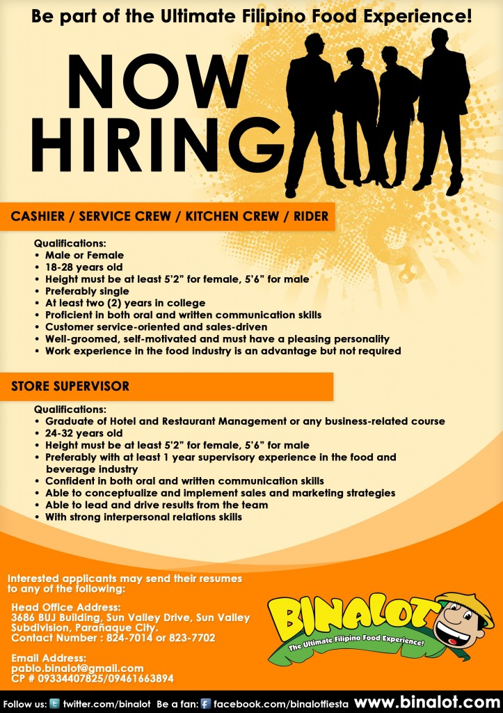 Binalot SM City Rosario Cavite Is NOW HIRING! Binalot