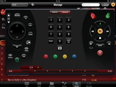Virgin Media Television Remote control