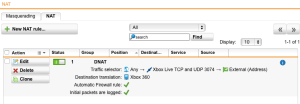 Sophos UTM Xbox 360 NAT Rule