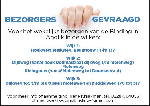 bezorgers weekblad Binding in Wervershoof en Andijk gezocht