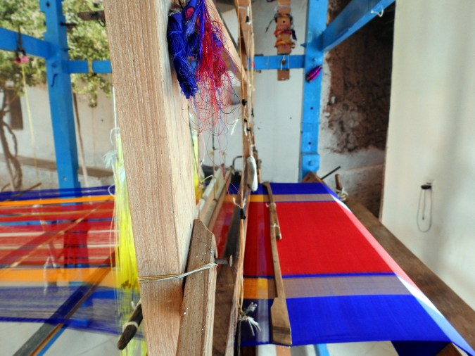 A saree being woven on the hand loom