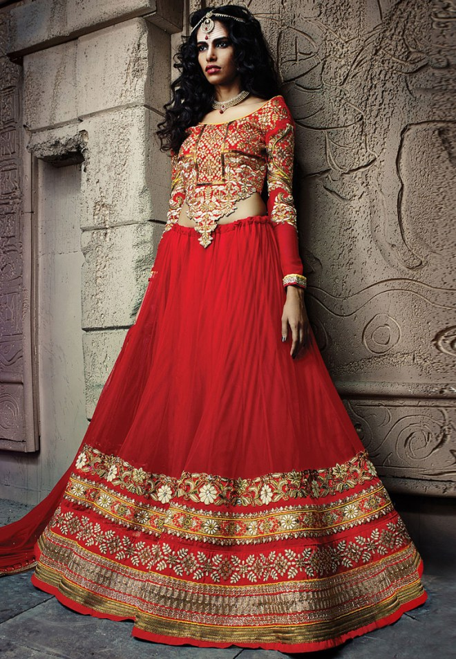 Red Embroidered Lehenga - Rs.17%2c925