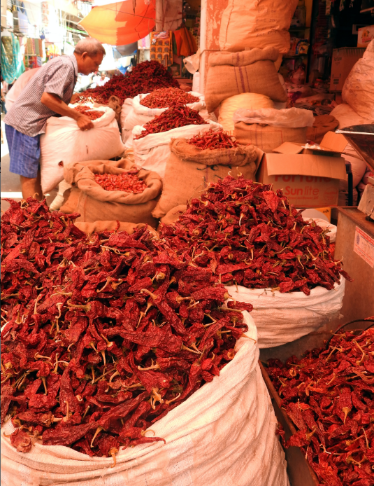 Chilli being sold at the Mapsua Market