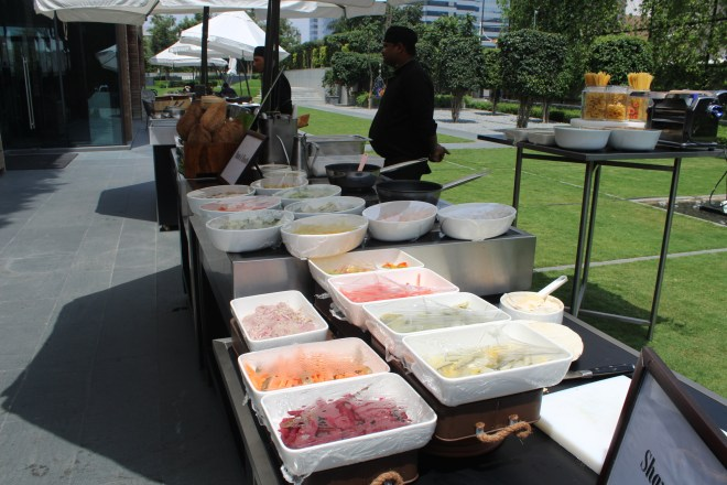 An Al fresco section of the buffet
