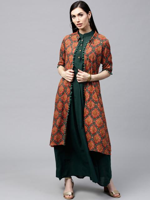 AKS-Women-Orange--Teal-Green-Printed-Longline-Open-Front-Jacket