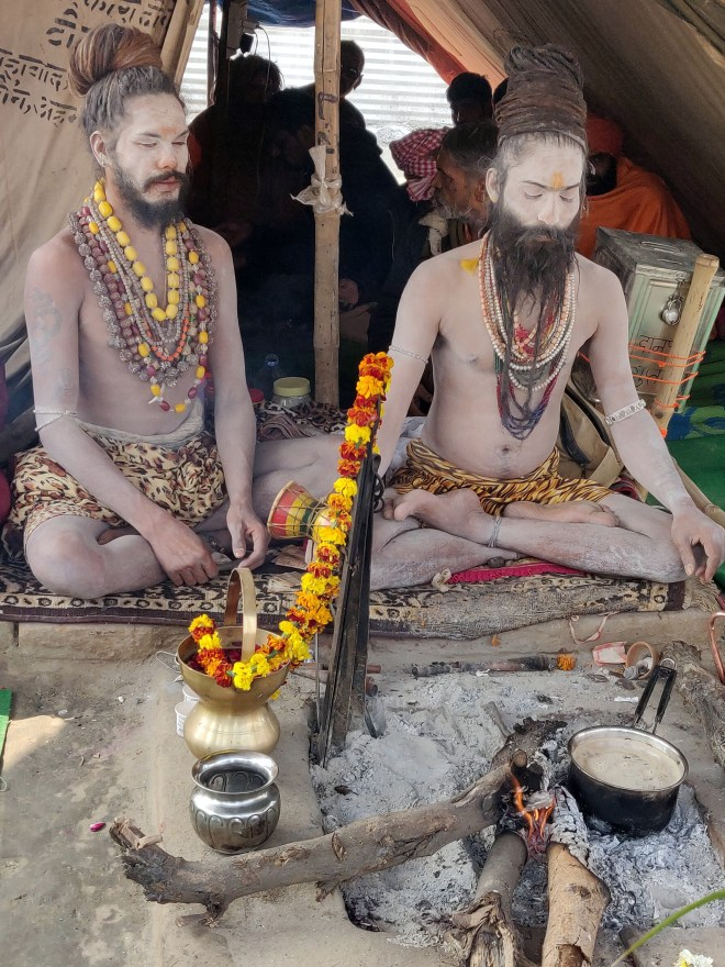 Naga Sadhus in meditation