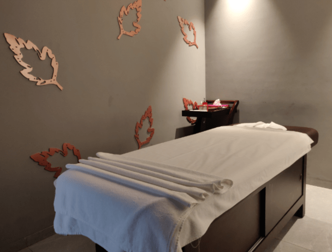 The treatment room at the Dew Salon and Spa