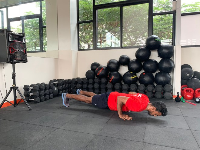Step 4-- Do a chest to floor push up a
