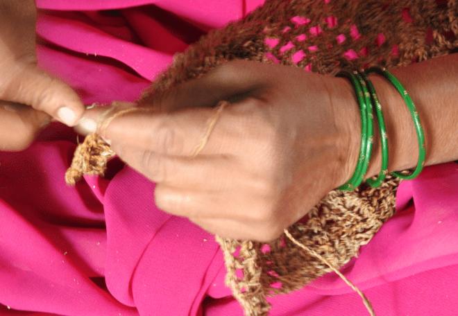 Women weaving at a banana fibre factory