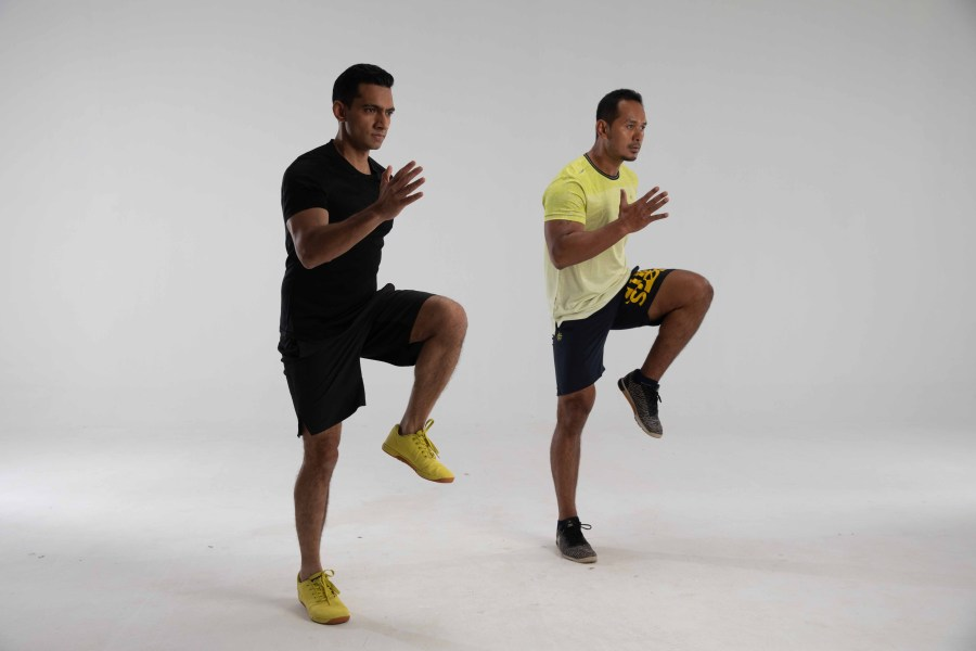 High Knees are a great way to build stamina and endurance courtesy Cult Fit