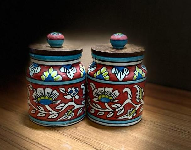 """""""Mughal Cylindrical Duo"""" Floral Hand-painted Multi Utility Storage Jars & Containers"""